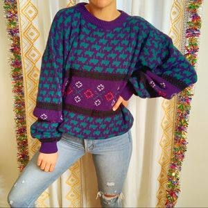 VTG 90s Cool Dad Slouchy Print Knit Sweater